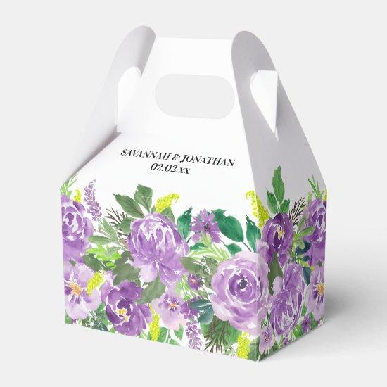 Watercolor Purple Floral Wedding Favor Box