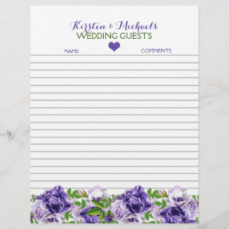Watercolor Purple Floral | Wedding Guestbook Paper