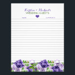 "Watercolor Purple Floral | Wedding Guestbook Paper<br><div class=""desc"">Pretty purple floral design matching wedding guestbook paper for your custom guestbook binder</div>"