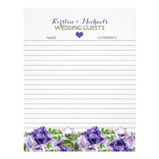 Watercolor Purple Floral   Wedding Guestbook Paper