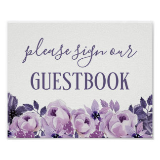 Watercolor Purple Floral Wedding Guestbook Sign