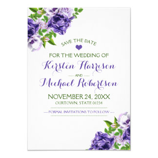 Watercolor Purple Floral | Wedding Save the Date Card