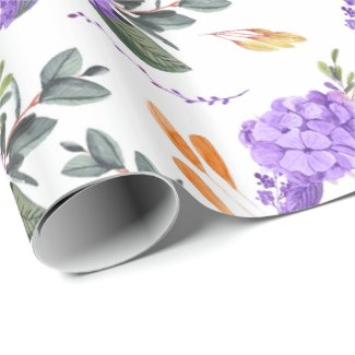 Watercolor Purple Floral Wrapping Paper