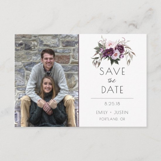 Watercolor Purple Florals Photo Save The Date |