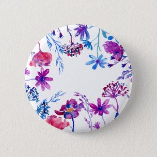 Watercolor Purple Flower Border Button