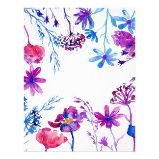 Watercolor Purple Flower Border Letterhead
