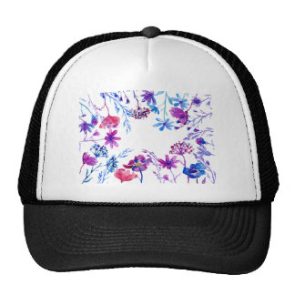 Watercolor Purple Flower Border Trucker Hat