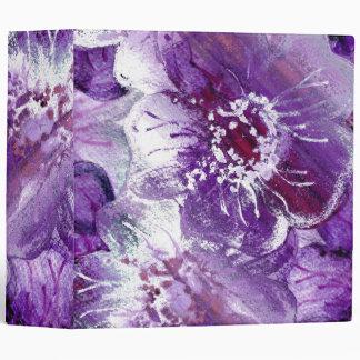 Watercolor Purple Flowers Art Binder