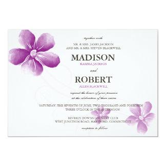 "Watercolor Purple Flowers Wedding Invitations 5"" X 7"" Invitation Card"