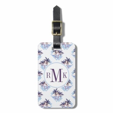 Watercolor Purple Geometric Palm Tree Pattern Bag Tag