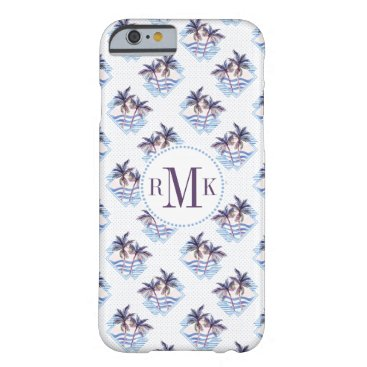 Beach Themed Watercolor Purple Geometric Palm Tree Pattern Barely There iPhone 6 Case