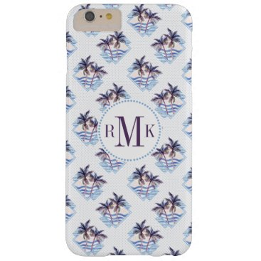 Beach Themed Watercolor Purple Geometric Palm Tree Pattern Barely There iPhone 6 Plus Case