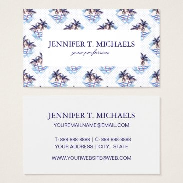 Watercolor Purple Geometric Palm Tree Pattern Business Card