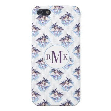 Beach Themed Watercolor Purple Geometric Palm Tree Pattern Case For iPhone SE/5/5s