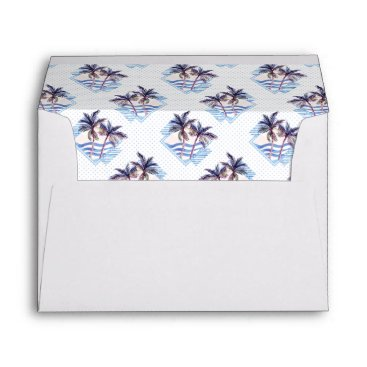 Watercolor Purple Geometric Palm Tree Pattern Envelope