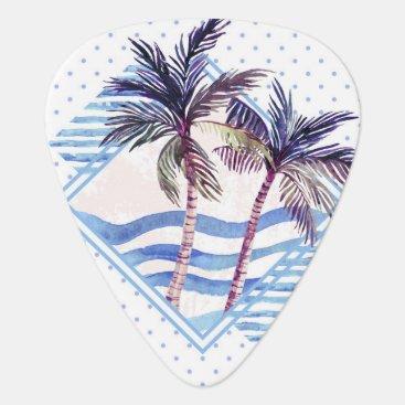 Beach Themed Watercolor Purple Geometric Palm Tree Pattern Guitar Pick