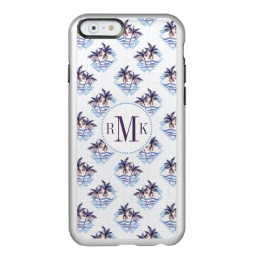 Beach Themed Watercolor Purple Geometric Palm Tree Pattern Incipio Feather Shine iPhone 6 Case