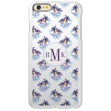 Beach Themed Watercolor Purple Geometric Palm Tree Pattern Incipio Feather Shine iPhone 6 Plus Case