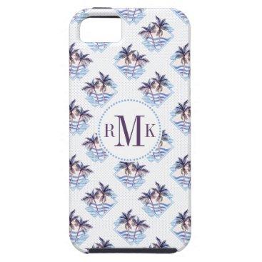 Beach Themed Watercolor Purple Geometric Palm Tree Pattern iPhone SE/5/5s Case