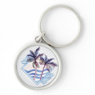 Watercolor Purple Geometric Palm Tree Pattern Keychain