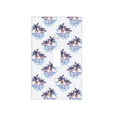Watercolor Purple Geometric Palm Tree Pattern Light Switch Cover