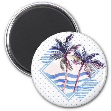 Watercolor Purple Geometric Palm Tree Pattern Magnet