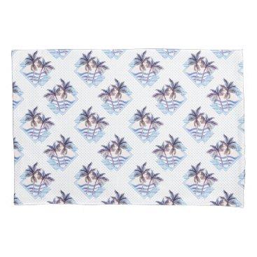 Watercolor Purple Geometric Palm Tree Pattern Pillowcase