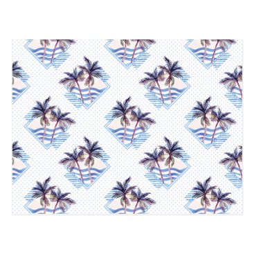 Watercolor Purple Geometric Palm Tree Pattern Postcard