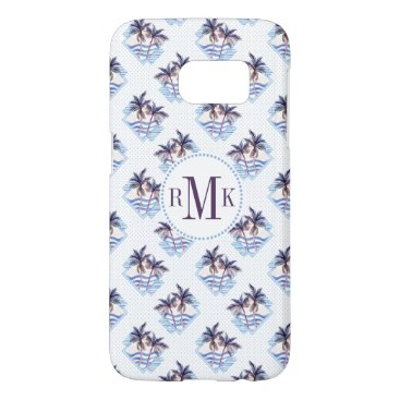 Beach Themed Watercolor Purple Geometric Palm Tree Pattern Samsung Galaxy S7 Case