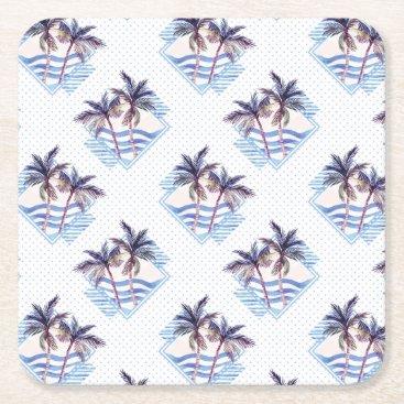 Watercolor Purple Geometric Palm Tree Pattern Square Paper Coaster