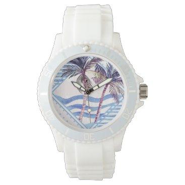 Beach Themed Watercolor Purple Geometric Palm Tree Pattern Watch