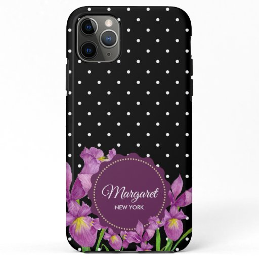 Watercolor Purple Iris Black White Polka Dots iPhone 11 Pro Max Case