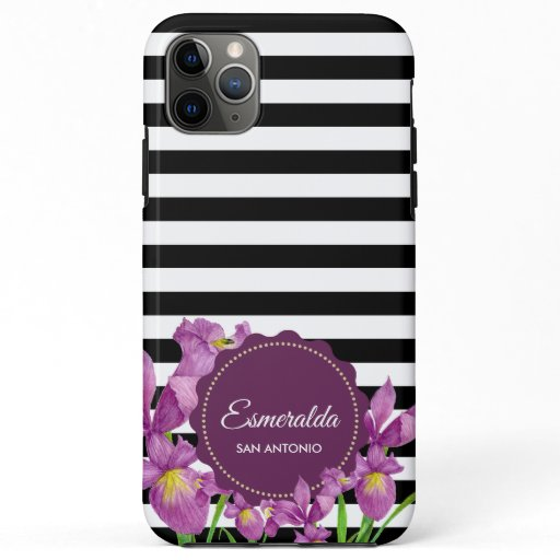 Watercolor Purple Iris Black White Stripes iPhone 11 Pro Max Case