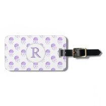 watercolor purple jellyfish bag tag