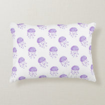 watercolor purple jellyfish beach design accent pillow