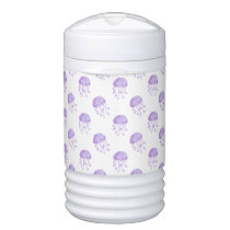watercolor purple jellyfish beach design beverage cooler