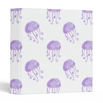 watercolor purple jellyfish beach design binder