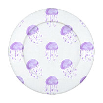 watercolor purple jellyfish beach design button covers