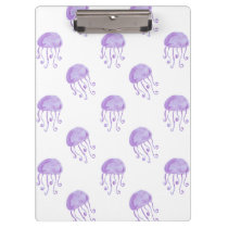watercolor purple jellyfish beach design clipboard