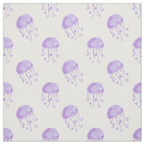 watercolor purple jellyfish beach design fabric