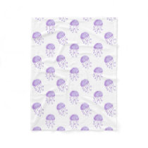 watercolor purple jellyfish beach design fleece blanket