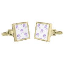 watercolor purple jellyfish beach design gold cufflinks