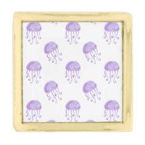 watercolor purple jellyfish beach design gold finish lapel pin