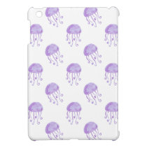 watercolor purple jellyfish beach design iPad mini case
