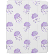 watercolor purple jellyfish beach design iPad smart cover