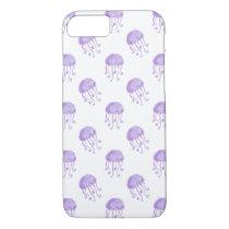 watercolor purple jellyfish beach design iPhone 7 case