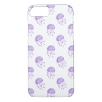 watercolor purple jellyfish beach design iPhone 8/7 case