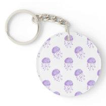 watercolor purple jellyfish beach design keychain