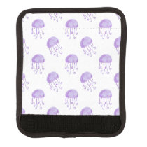 watercolor purple jellyfish beach design luggage handle wrap