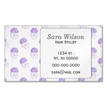 watercolor purple jellyfish beach design magnetic business card